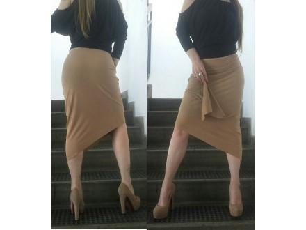 Velur oker asimetrična suknja