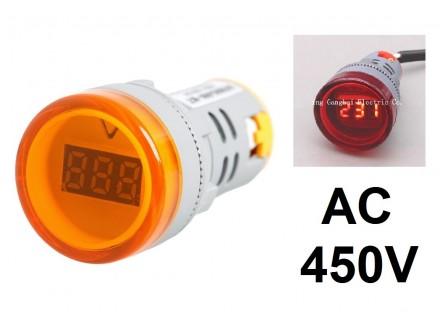 Voltmetar AC 60-450V oranz displej - 22mm