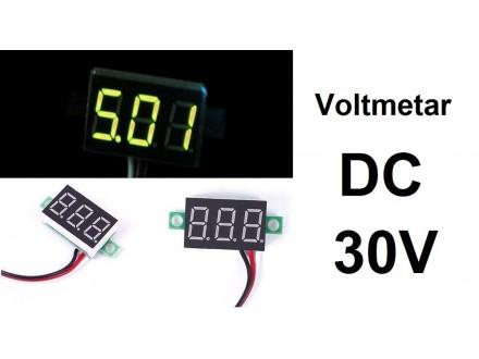 Voltmetar DC 30 V zuti displej