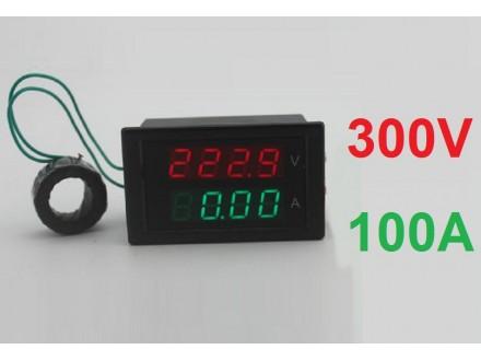 Voltmetar i Ampermetar AC 300V i 100A RED+GREEN