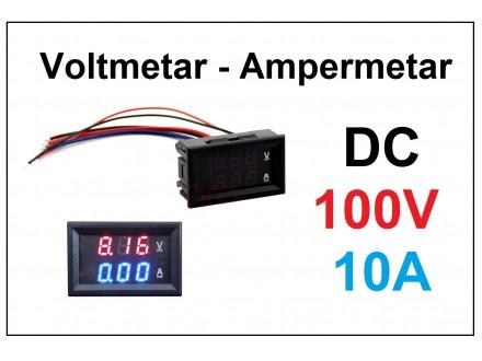 Voltmetar i Ampermetar DC 100V i 10A crveno-plav