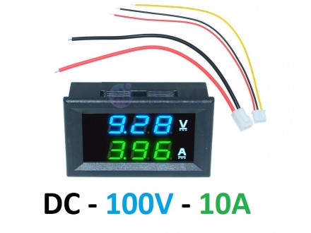 Voltmetar i Ampermetar DC 100V i 10A plavo-zeleni