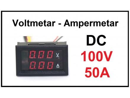 Voltmetar i Ampermetar DC 100V i 50A crveni displej