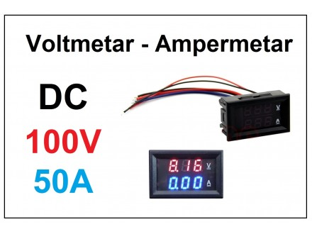 Voltmetar i Ampermetar DC 100V i 50A crveno-plavi