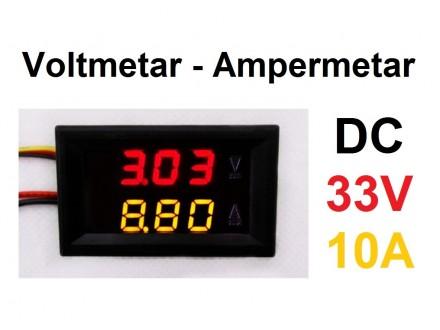 Voltmetar i Ampermetar DC 33V i 10A crveno-zuti
