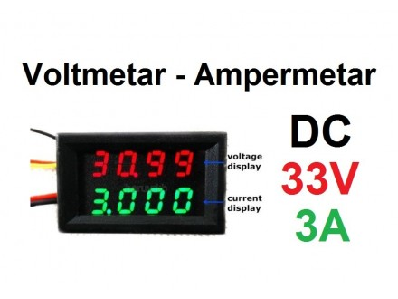 Voltmetar i Ampermetar DC 33V i 3A crveno-zeleni