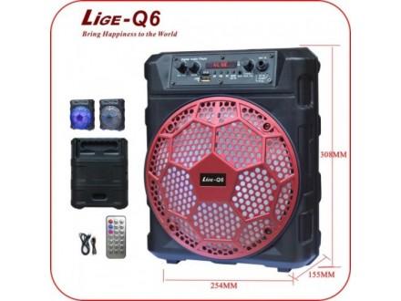 ZVUCNIK KARAOKE BLUETOTH, RADIO, USB AKUMULATORSKI LIGE Q6 10W, 12V 1800mAh