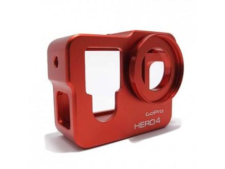 Zastitni metalni okvir za GoPro Hero 4 crveni (MS)