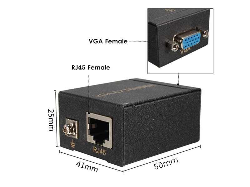 60M VGA Single Extender to RJ45 Transmitter
