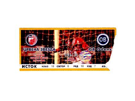 Crvena Zvezda-OB Odense,2003,ulaznica za mec.