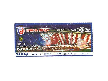 Crvena Zvezda-Rosenborg,2003,ulaznica za mec