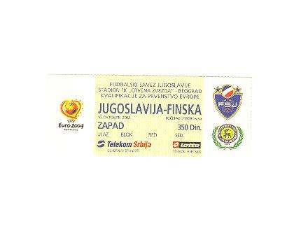 Jugoslavija-Finska,2002,ulaznica za mec