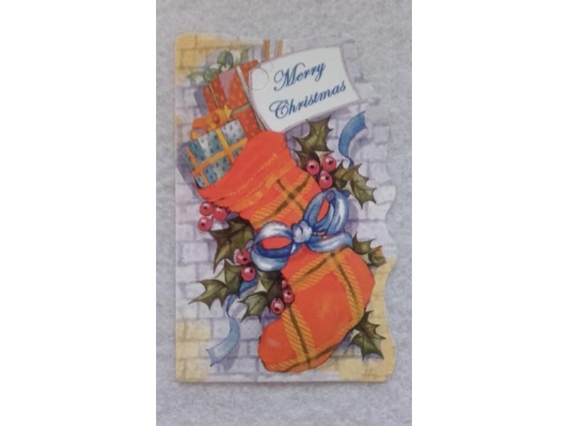 *K681--novogodisnja tag kartica 7.5x5cm/kom