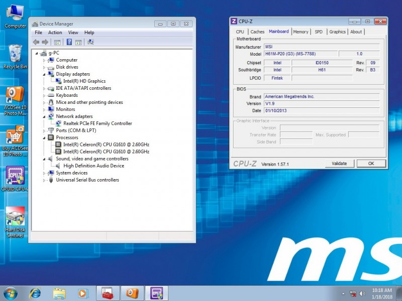 MSI H61M-P20(G3) 1155LGA + G1610 + Intel kuler