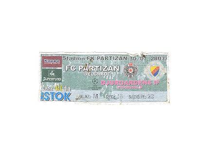 Partizan-Djurgardens IF,2003,ulaznica za mec.