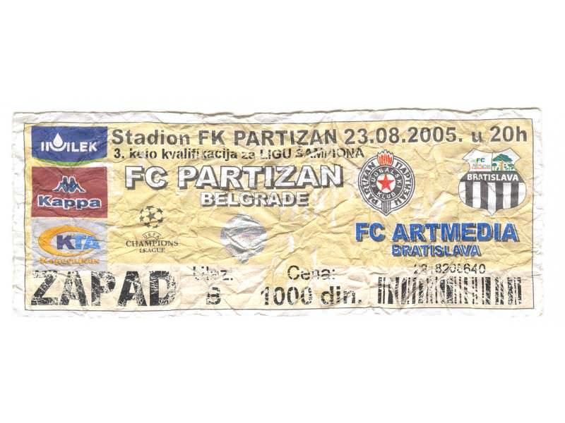 Partizan-FC Artmedia,2005,ulaznica za mec