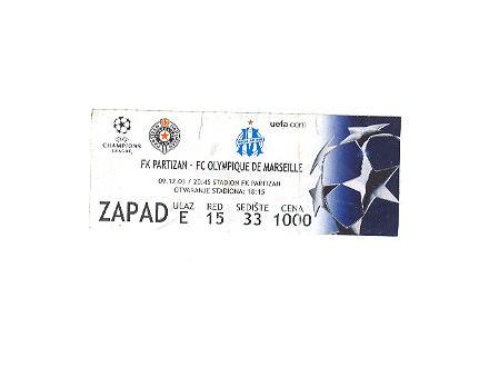 Partizan-FC Olimpique de Marseille 03,ulaznica