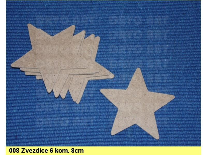 008 Zvezdica ukras 8cm, 5 komada, dekupaž repro