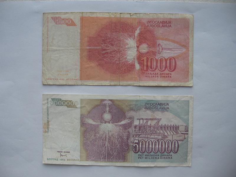 1.000 dinara 1992. i 5.000.000 dinara 1993. (2 komada)