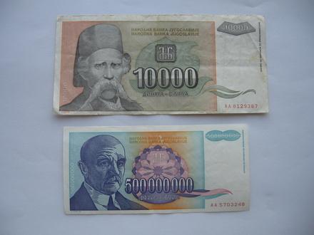 10.000 i 500.000.000 dinara 1993. (2 komada)
