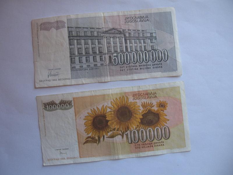 100.000 dinara 1993. i 500.000.000 dinara 1993. (2 kom)