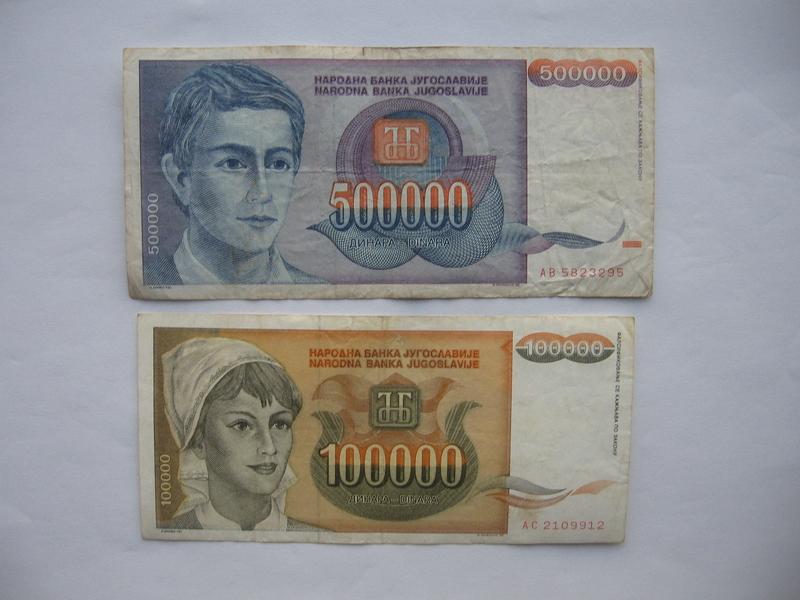 100.000 dinara 1993. i 500.000 dinara 1993. (2 komada)2
