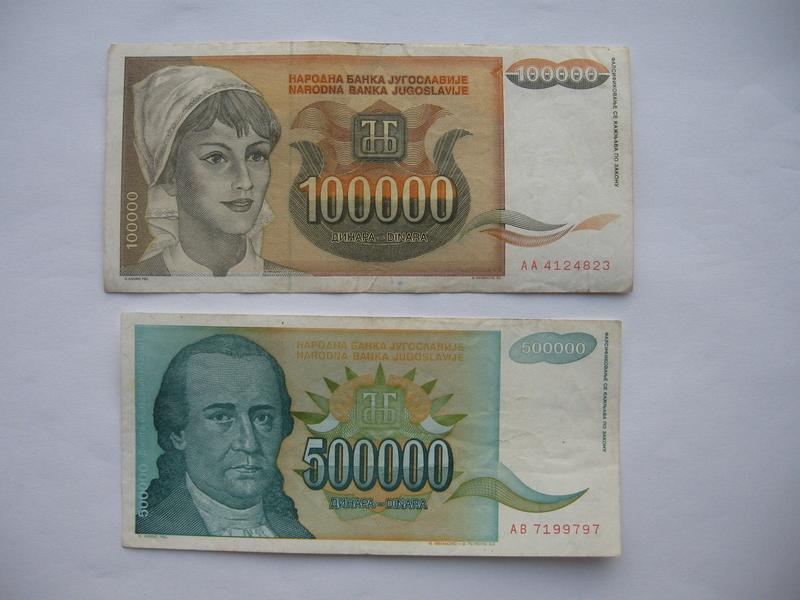 100.000 dinara 1993. i 500.000 dinara 1993. (2 komada)
