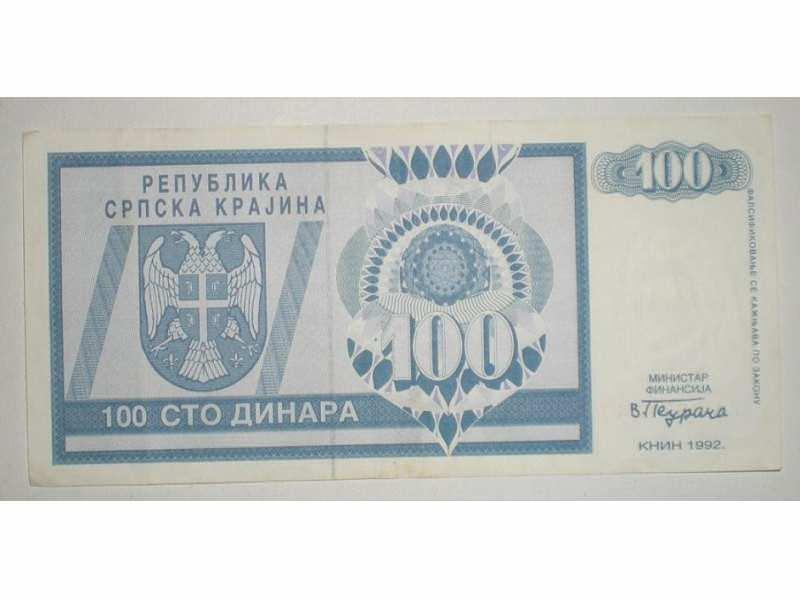 100 dinara 1992 Republika Srpska