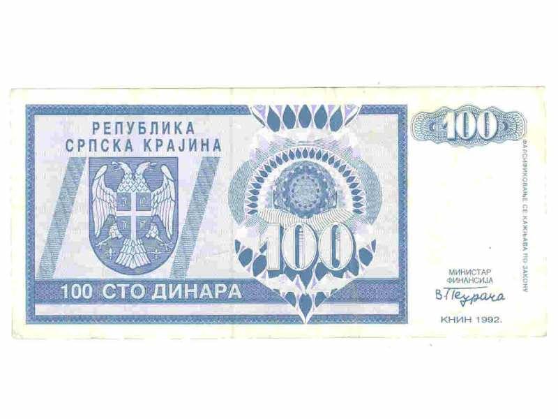 100 dinara,RSK,1992,f/vf.