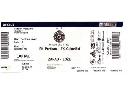 2014, PARTIZAN - ČUKARIČKI ! Neiskorišćena.