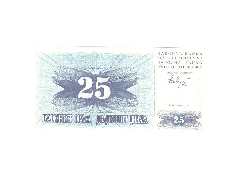 25 dinara BiH,1992,unc.