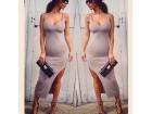 328) Duga siva pamucna haljina VISE BOJA