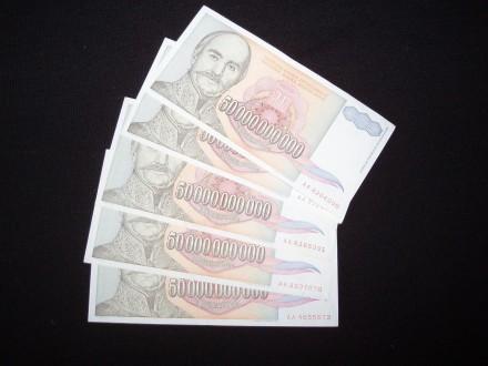 50.000.000.000.din.1993,vf/xf,lot od  5 novcanica.