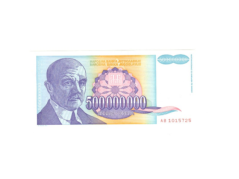 500.000.000.dinara,SRJ,1993,unc.
