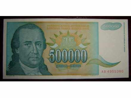 500.000 dinara (DOSITEJ OBRADOVIĆ) 1993. 14 komada