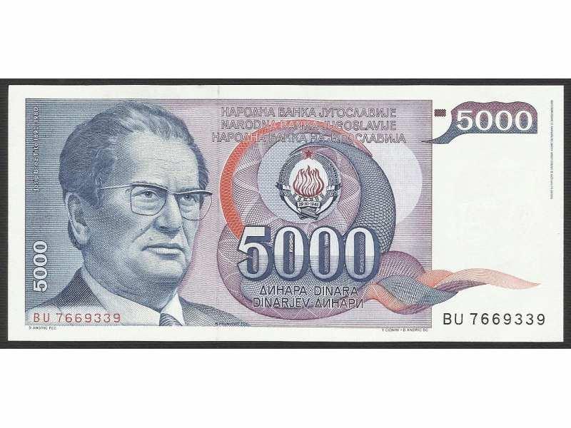 5000 DINARA 1985 UNC