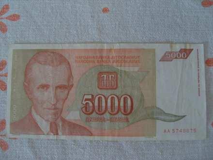 5000 din. novcanica, Jugoslavija 1993.
