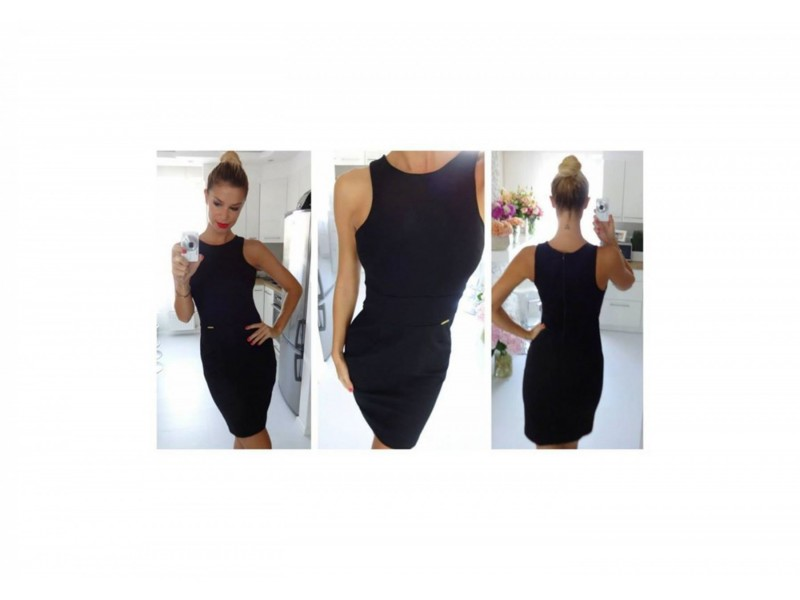 59) Crna sportska haljinica na sire bretele