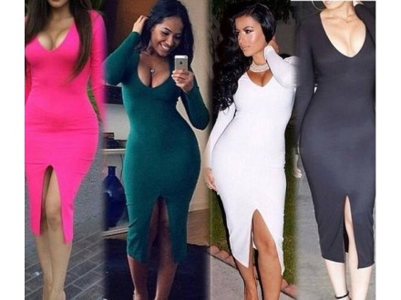 64) Sexy duga haljina u vise boja