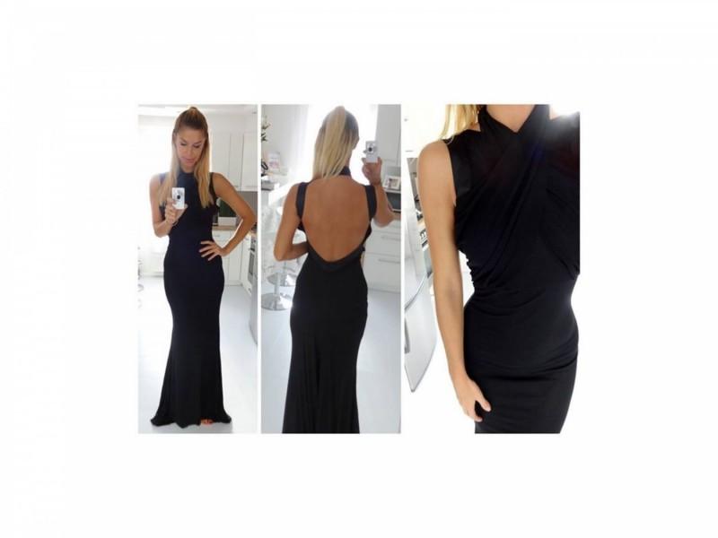 67) Crna duga elegantna haljina u vise boja