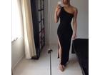 82)  Crna duga haljina na jedno rame ( VISE BOJA )