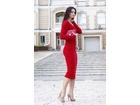 88)  Crvena dugacka haljina sa dugim rukavima