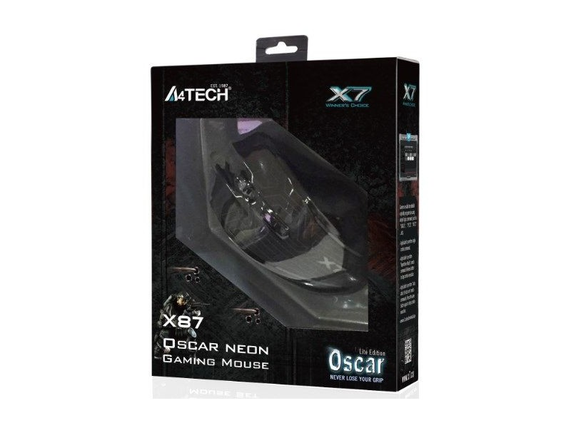 A4-X87 A4Tech Oscar Neon Gejmerski opticki mis, 1000Hz/1000-2400 Dpi, Black USB
