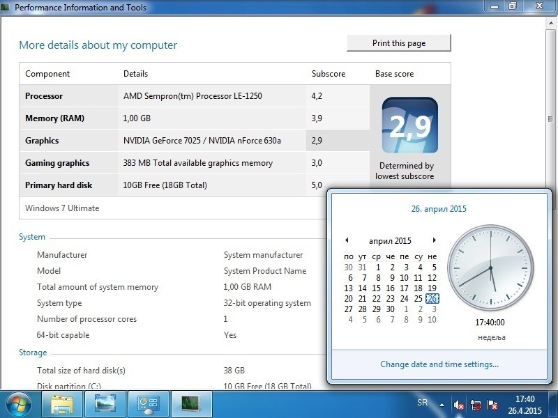 AMD racunar Amd 2,21Ghz kuciste sem hd