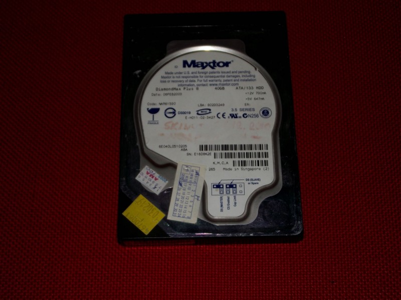 ATA Hard Disk 40GB Maxtor 6E04QL0510205