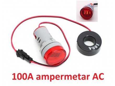 Ampermetar AC 100A crveni displej (220V) - 22mm