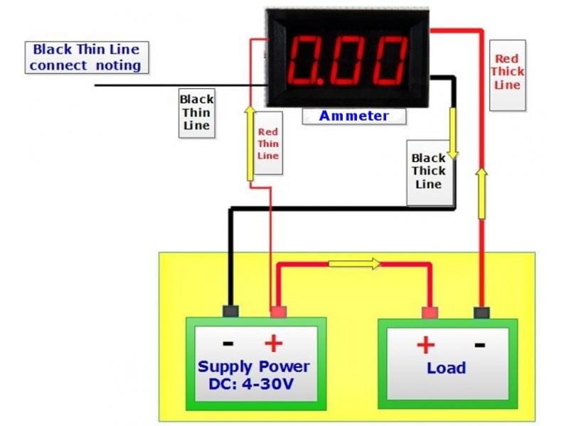 Ampermetar DC 10A crveni displej