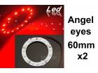 Angel eyes prstenovi - LED - 60mm / 44mm - Crveni