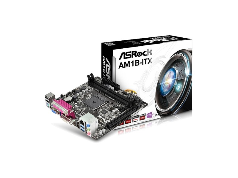 Asrock AMD AM1 AM1B-ITX , 2 x DDR3, GLAN, 2 x USB3.0, VGA, DVI, HDMI, LPT, mini-ITX