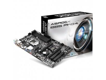 Asrock Intel 1150 B85 Pro4 , 4xDDR3, GLAN, PCI-E3.0, USB3.0, HDMI, DVI, VGA, ATX
